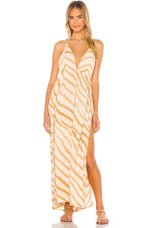 Indah River Triangle Plunge Wrap Skirt Maxi Dress in - Tan. Size M/L (also in XS/S, S/M).