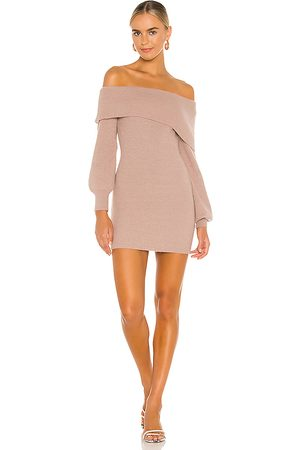 Lovers + Friends Mini Off Shoulder Knit Dress in - Taupe. Size M (also in S).