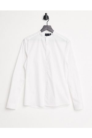 ASOS Skinny fit shirt with grandad collar in white