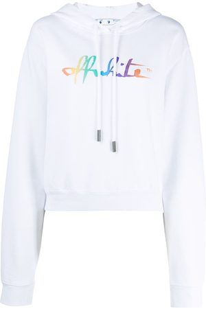OFF-WHITE Rainbow logo print cropped hoodie
