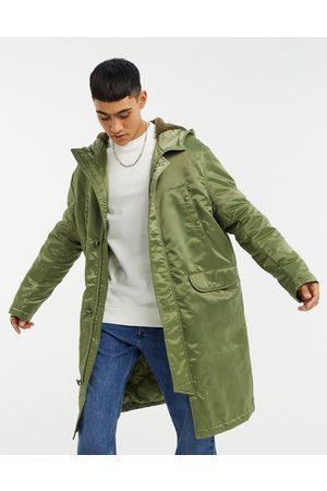 ASOS Longline parka jacket in high shine green nylon
