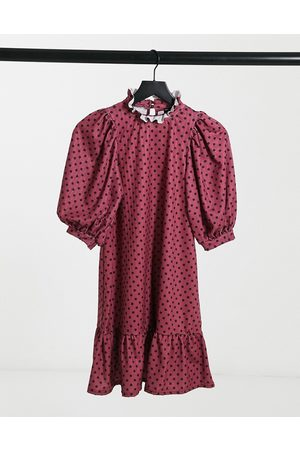ASOS Textured mini dress with ruffle neck and puff sleeve in burgundy and black polka dot