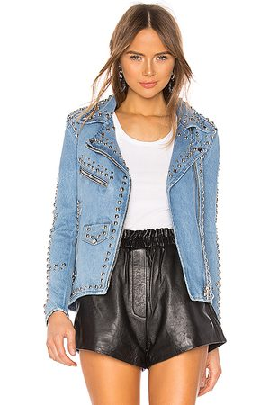 Understated Leather Studded Western Moto Jacket in - Blue. Size M (also in XS, S).