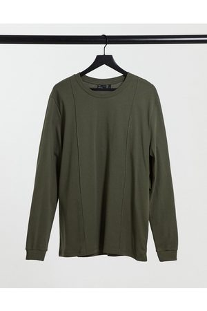 ASOS Long sleeve smart muscle fit t-shirt with pintuck detail in khaki-Green