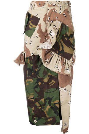 THORNTON BREGAZZI Patchwork camouflage-print pencil skirt