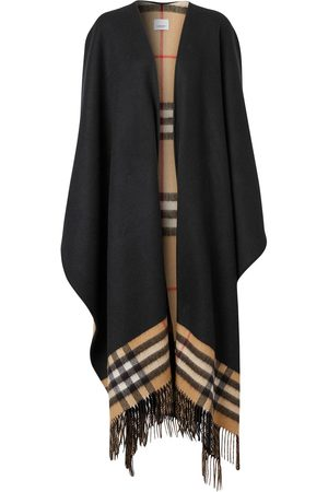 Burberry Mulher Casacos - Fringed check cape