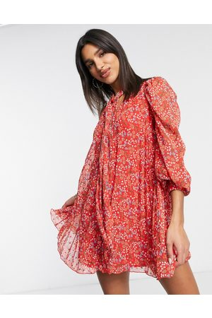 ASOS Pleated trapeze dobby mini dress with neck tie in red ditsy floral print-Multi