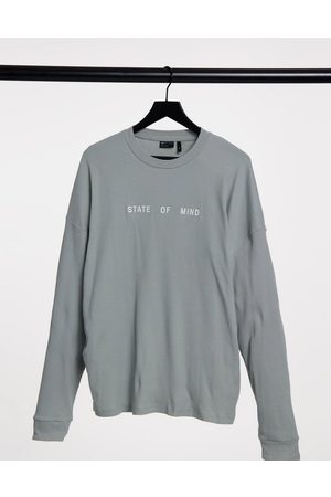 ASOS Oversized rib long sleeve t-shirt with front embroidery-Grey