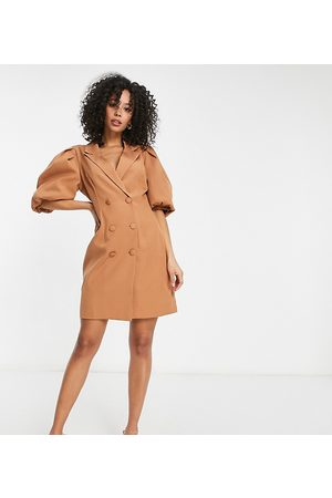 Missguided Blazer dress with puff sleeve in camel-Tan