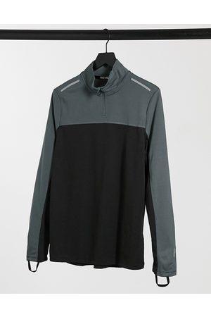 ASOS Homem Manga comprida - Running long sleeve t-shirt with contrast panels and 1/4 zip-Black