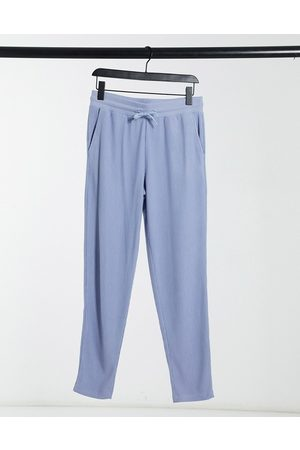 ASOS Homem Joggers - Smart co-ord skinny joggers in rib with fixed hem in light blue