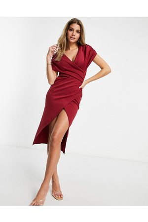 ASOS Ruched wrap around short sleeve midi wrap dress in oxblood-Multi