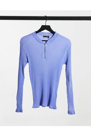 ASOS Muscle long sleeve rib t-shirt with blue oil wash