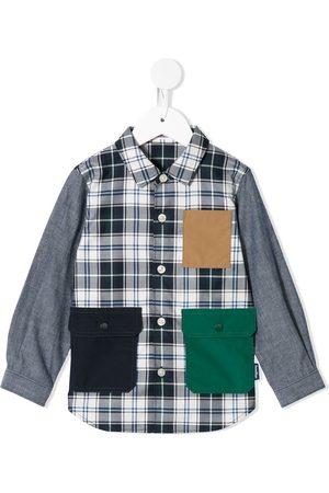 Familiar Flap pockets plaid shirt