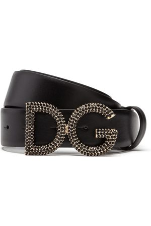Dolce & Gabbana Crystal-embellished leather belt