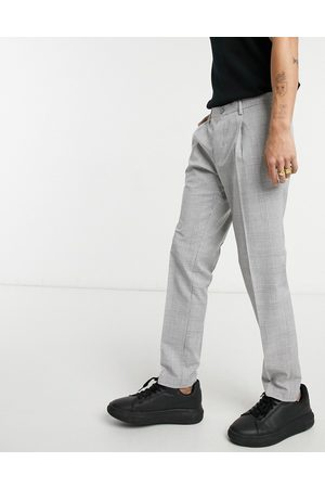 Burton Skinny POW check pleasted trousers in grey