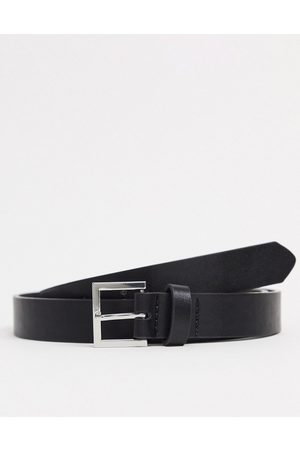 ASOS Homem Cintos - Skinny belt in black faux leather with silver buckle
