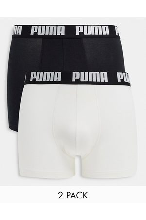 Puma 2 pack logo waistband boxers in black/white-Multi