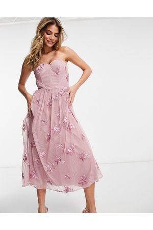 Chi Chi London 3d floral off shoulder prom dress in mink-Pink