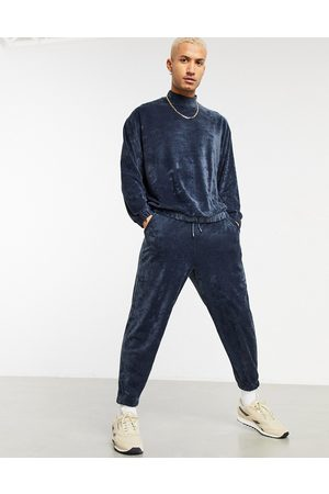 ASOS Co-ord oversized towelling joggers in marl-Blue