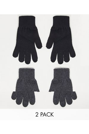 ASOS Senhora Luvas - 2 pack touch screen gloves in recycled polyester in black and charcoal-Grey