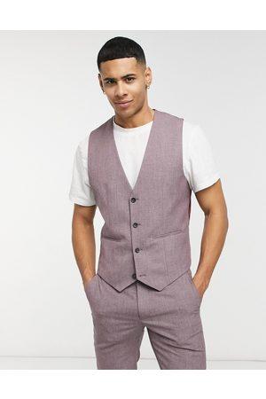 ASOS Wedding skinny suit waistcoat in wine crosshatch-Purple