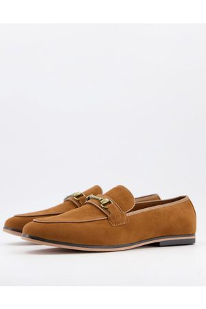 ASOS Loafers in tan faux suede with snaffle detail