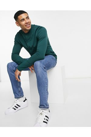 ASOS DESIGN Oragnic long sleeve jersey shirt with grandad collar in dark green