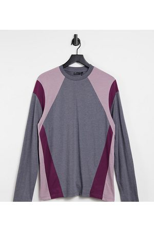 ASOS Tall organic long sleeve t-shirt with colour block in charcoal marl-Grey