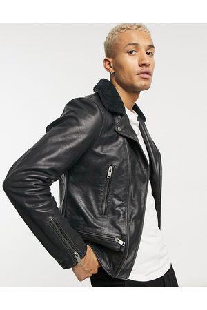 Bolongaro Crackle leather biker jacket with shearling collar-Black