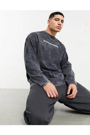 ASOS Dark Future Oversized heavyweight long sleeve t-shirt with contrast stitching in black