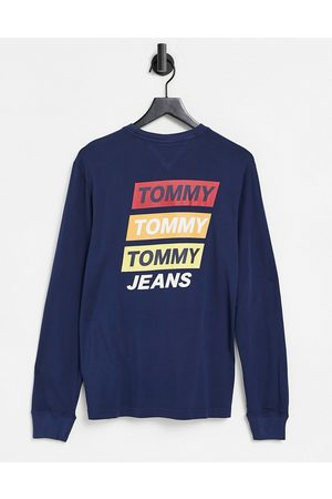 Tommy Hilfiger Back mountain print long sleeve top in navy