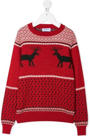 SIOLA TEEN reindeer-motif intarsia-knit jumper