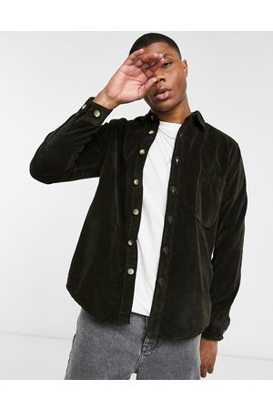 ASOS Moleskine effect overshirt with mock horn buttons in green