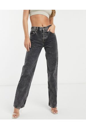 ASOS Mid rise '90's' straight leg jeans in vintage washed black