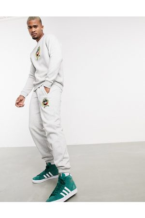 adidas Co-ord joggers with collegiate crest in grey fleece