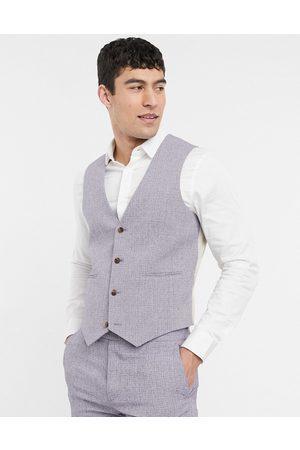 ASOS Wedding super skinny suit waistcoat in dark grey cross hatch