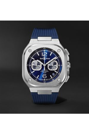 Bell & Ross Homem Relógios - BR 05 Automatic Chronograph 40mm Stainless Steel and Rubber Watch, Ref.No. BR05C-BUBU-ST/SRB