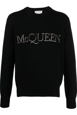 Alexander McQueen Homem Camisolas - Logo-embroidered knitted jumper