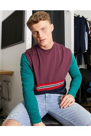 ASOS Organic relaxed long sleeve t-shirt with taping and colour block-Navy