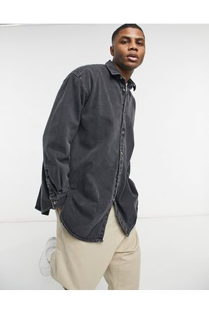ASOS Extreme oversized denim shirt in grey with contrast stitch