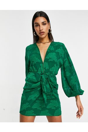 ASOS Plunge tie front mini dress in floral jacquard in green