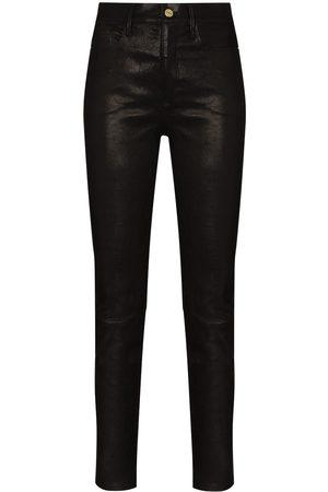 Frame Senhora Calças em Pele - Le Sylvie skinny leather trousers
