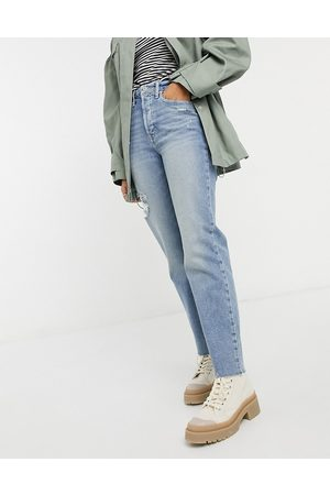 Hollister Distressed turn up hem ripped straight jean in mid wash-Blue