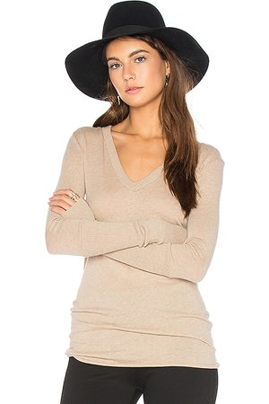 ENZA COSTA Rib Cuff V Neck Long Sleeve Tee in - Beige. Size L (also in M).