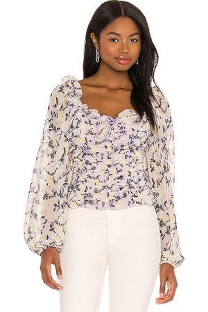 Free People Senhora Blusas - Mabel Printed Blouse in - Cream,Lavender. Size L (also in M, XS, S).