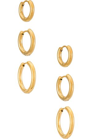 SHASHI Triples Hoop Set of 3 in - Metallic . Size all.