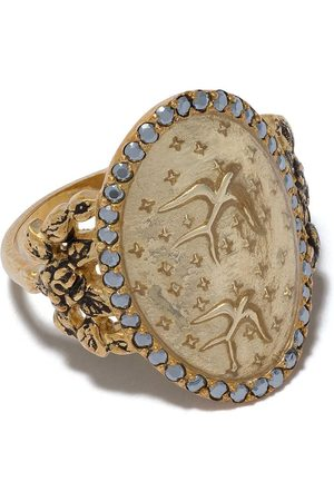 Feidt Paris 9kt yellow bird sapphire ring