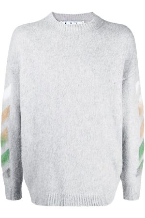 OFF-WHITE DIAG BRUSHED CREW NECK SILVER MULTICOLOR
