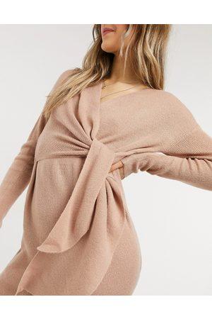 Style Cheat Senhora Vestidos de Festa - Emilia knit midi dress with tie in blush-Beige